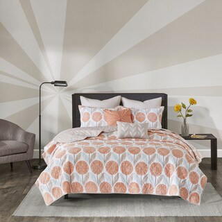 Palm Canyon Cameo Coral Cotton Printed 7-piece Coverlet Set (2 options available)