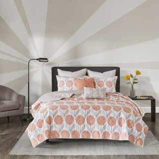Palm Canyon Cameo Coral Cotton Printed 7 Piece Coverlet Set