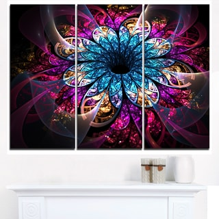 Fractal Flower Blue Red Digital Art - Large Flower Canvas Wall Art