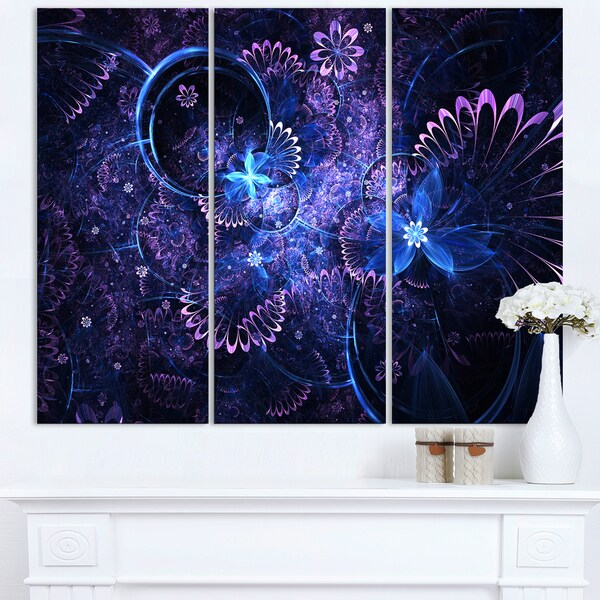 Dark Blue and Pink Fractal Flowers - Large Floral Wall Art Canvas