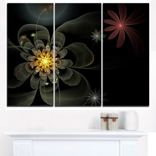 Yellow Small Fractal Flower in Black - Modern Floral Canvas Wall Art