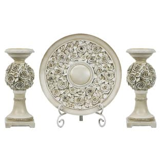 D'Lusso Designs Cassia Collection Four-piece Charger, Stand, and Two Candlestick Set|https://ak1.ostkcdn.com/images/products/12222327/P19067392.jpg?impolicy=medium