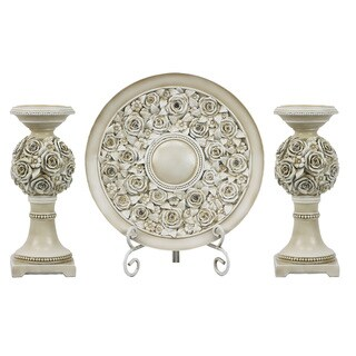 D'Lusso Designs Cassia Collection Four-piece Charger, Stand, and Two Candlestick Set