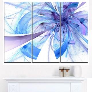 Blue Large Fractal Flower Pattern - Modern Floral Canvas Wall Art
