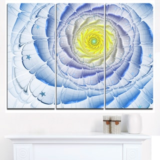 Fractal Flower Blue Yellow Digital Art - Large Flower Canvas Wall Art
