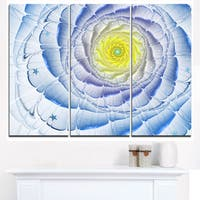 Fractal Flower Blue Yellow Digital Art - Large Flower Canvas Wall Art