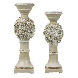 D'Lusso Designs Cassia Off-white Polyresin Hurricane Candlestick Holders (Set of 2)