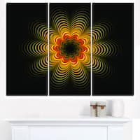 Psychedelic Yellow Fractal Flower - Large Floral Canvas Art Print - Red