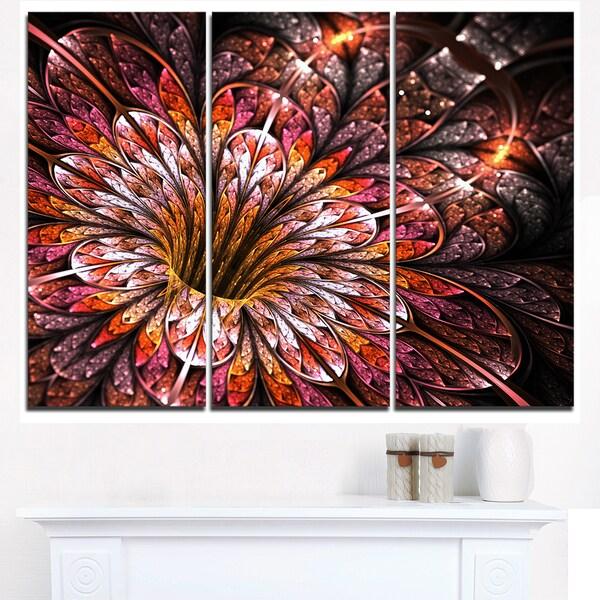 Glittering Light Red Fractal Flower - Large Floral Canvas Art Print