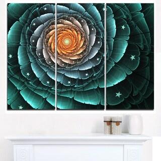Fractal Flower Turquoise Digital Art - Large Floral Canvas Art Print
