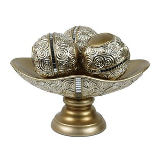 D'Lusso Designs Suzette Collection Decorative Bowl With Three Orbs Set