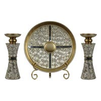 D'Lusso Designs Suzette Collection Four-piece Charger, Stand and Two Candlestick Set