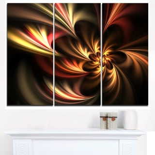 Glossy Yellow and Red Fractal Flower - Floral Canvas Artwork