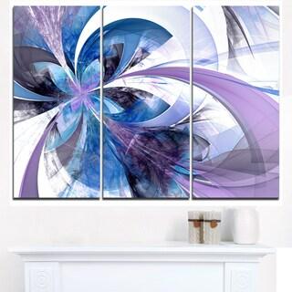 Symmetrical Fractal Flower in Blue - Modern Floral Canvas Wall Art
