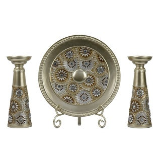 D'Lusso Designs Venus Collection Four-piece Charger, Stand, and Candlestick Set