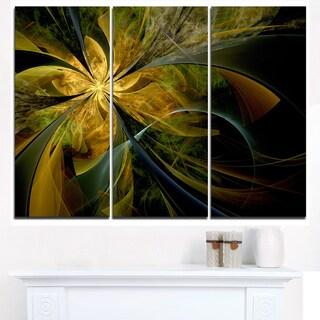 Symmetrical Fractal Flower in Gold - Modern Floral Canvas Wall Art