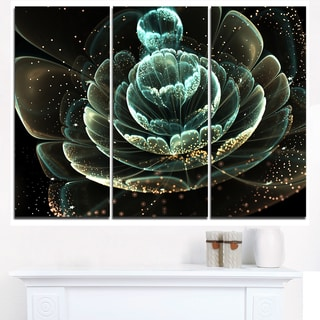 Fractal Flower Light Green Digital Art - Large Floral Canvas Art Print