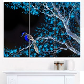 Beautiful Bird on Flowering Branch - Floral Canvas Artwork Print