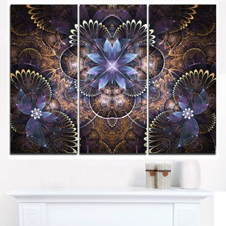 Fractal Glossy Blue Flower Digital Art - Large Floral Canvas Art Print
