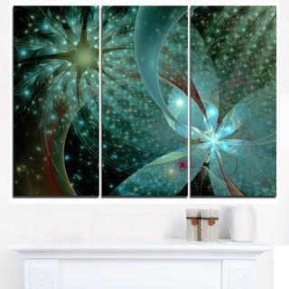 Symmetrical Fractal Flower in Light Blue - Modern Floral Canvas Wall Art