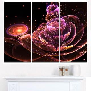 Fractal Flower Illuminated Purple Art - Large Floral Canvas Art Print