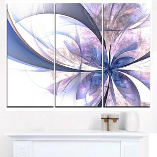 Light Blue Fractal Flower Design - Modern Floral Canvas Wall Art
