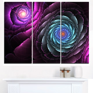 Fractal Blue Purple Flower Digital Art - Large Floral Canvas Art Print