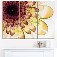 Brown Yellow Typical Flower Fractal - Floral Canvas Artwork Print