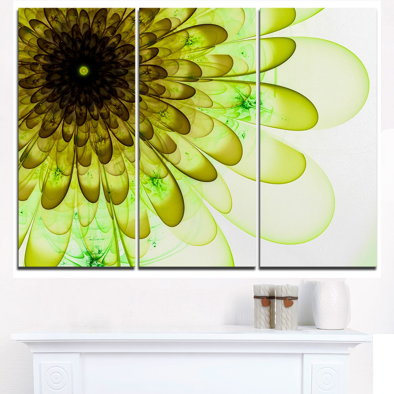 Shop Light Green Digital Flower Petal Close Up Floral Canvas Artwork Print Overstock 12222411