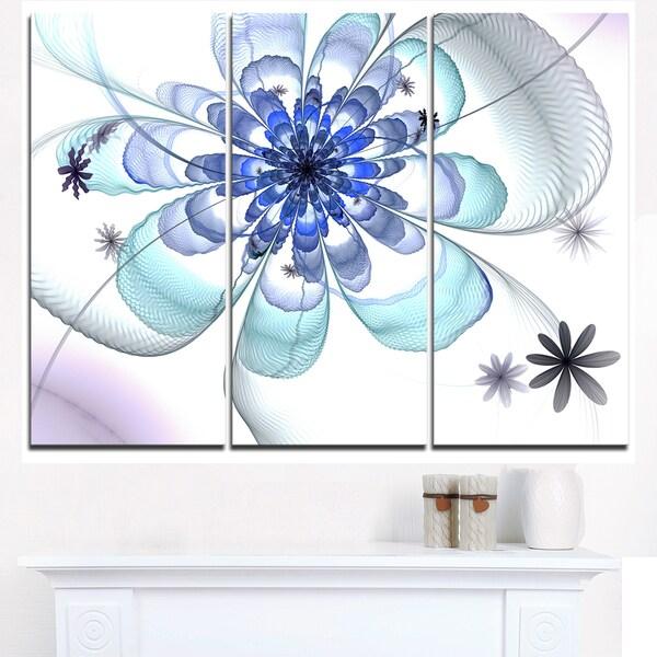 Shop Light Blue Large Fractal Flower - Modern Floral Canvas Wall Art ...