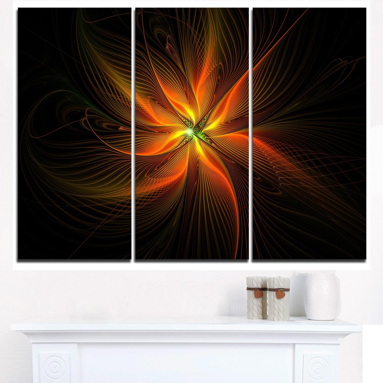 Shop Shiny Golden Yellow Fractal Flower On Black Floral Canvas Artwork Print Gold Overstock 12222415