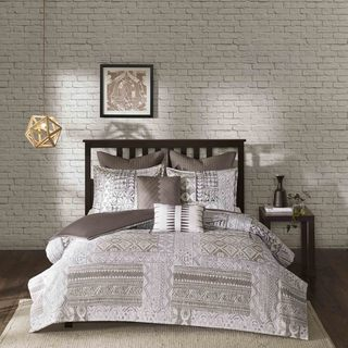 Urban Habitat Archer Taupe Printed 7-piece Duvet Cover Set