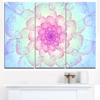 Blue Fractal Flower with Soft Petals - Floral Canvas Artwork Print