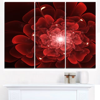 Fractal Flower Clear Red Digital Art - Large Floral Canvas Art Print