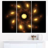 Glowing Yellow Radial Fractal Flower Art - Floral Canvas Artwork Print - Red