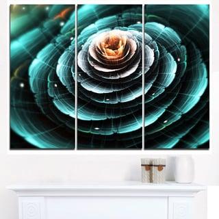 Fractal Flower Clear Turquoise Digital Art - Large Floral Canvas Art Print