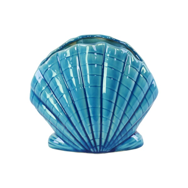 Urban Trends Collection Turquise Ceramic Clam Seashell Sculpture with Glossy Finish
