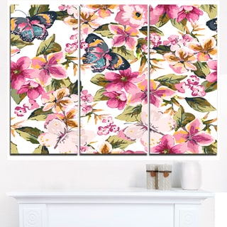 Butterflies with Seamless Floral Pattern - Large Floral Canvas Art Print