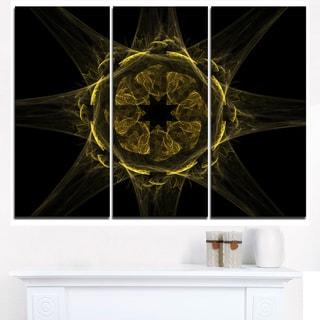 Glowing Golden Radial Fractal Flower Art - Floral Canvas Artwork Print