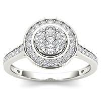 De Couer 10k White Gold 1/2ct TDW Diamond Cluster Halo Engagement Ring - White H-I