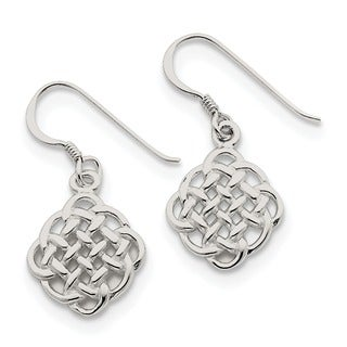 Sterling Silver Rhodium-plated Celtic Knot Hook Earrings