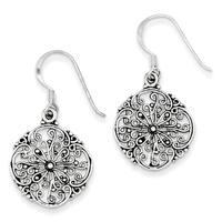 Versil Sterling Silver Antiqued Filigree Dangle Earrings