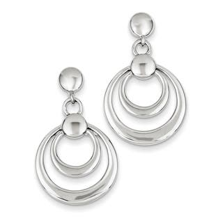 Sterling Silver Rhodium-platedDouble Circle Dangle Post Earrings|https://ak1.ostkcdn.com/images/products/12222507/P19067449.jpg?impolicy=medium