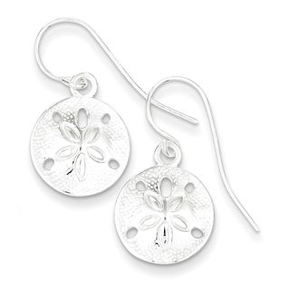 Sterling Silver Polished and Textured Sand Dollar Dangle Earrings