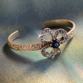 Sweet Romance Brass Crystal Victorian Trefoil Lucky Clover Cuff Bracelet (2 options available)