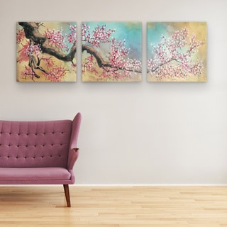 Vinh Chau 'Pink Blossoms' 24-inch x 72-inch Triptych Canvas Wall Art