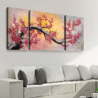 Vinh Chau 'Red Blossoms' 30x60 Triptych Canvas Wall Art