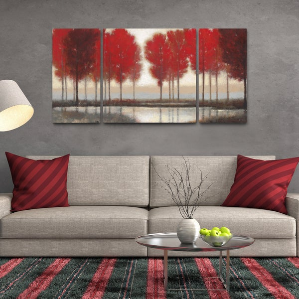studio 212 39 red autumn 39 30 inch x 60 inch triptych textured canvas wall art free shipping. Black Bedroom Furniture Sets. Home Design Ideas