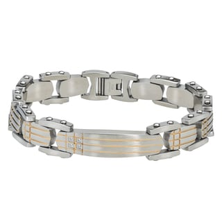 Men's Stainless Steel ID-style Bracelet with Diamond and Yellow IP Accents