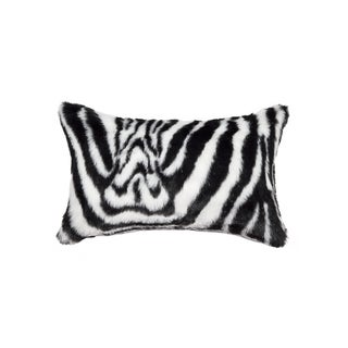 Luxe Zebra Black and White Faux Cowhide 12-inch x 20-inch Pillow